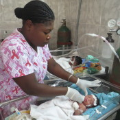 1 day old NICU patient with nurse