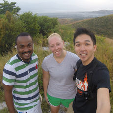Kenny Chen (right) on his first visit to HAS Haiti.